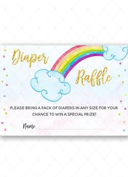 Rainbow Diaper Raffle Cards Baby Shower