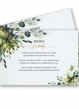 Greenery Books for Baby Card Template