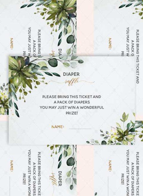 Greenery Diaper Raffle Card Template