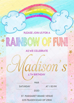 Rainbow Birthday Invitation Template