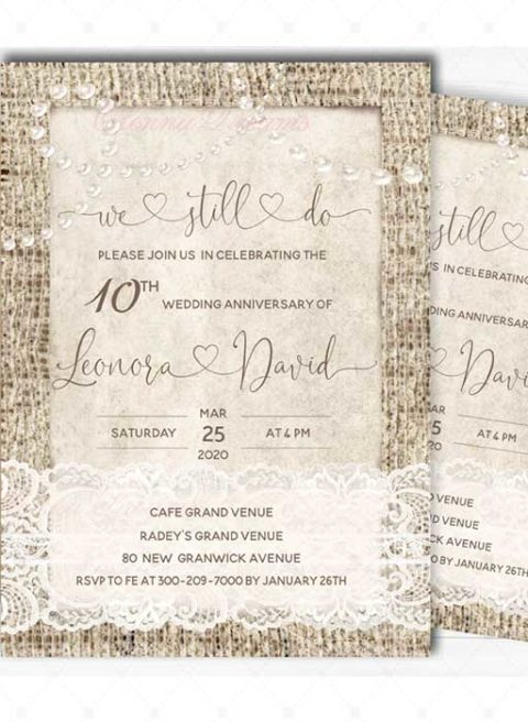 Vintage 10 year wedding anniversary party invitations