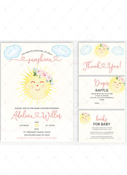 You Are My Sunshine Baby Shower Invitation Card