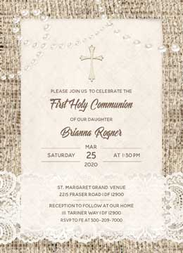 First Holy Communion Invitation Cards Girls