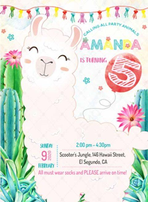 Llama Birthday Party Invitation