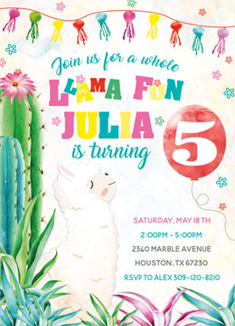 llama Party Invitation