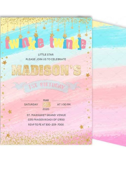 Rainbow 1st Birthday Invitation For Girl