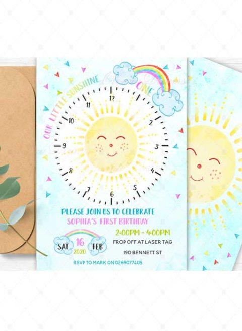 Sunshine 1st Birthday Invitations