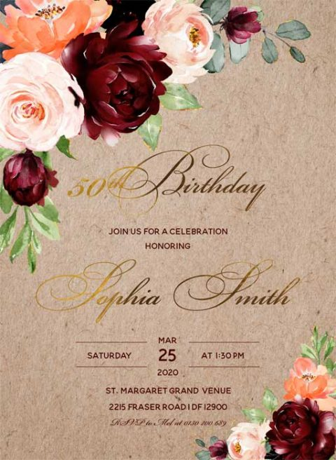 50th Birthday Party Invitation Templates