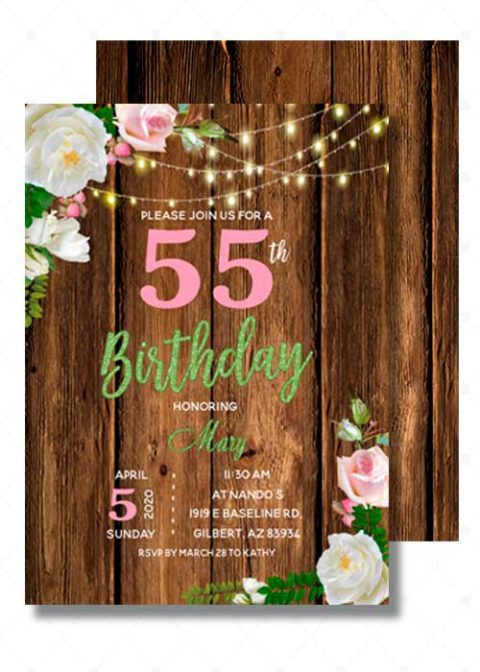 55th Birthday Invitations Printable