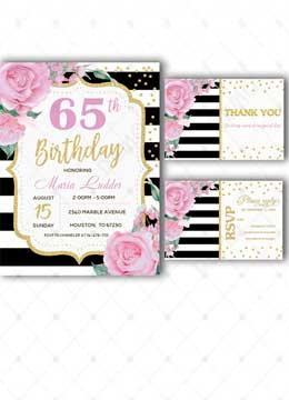 65th Pink Golg Party Supplies