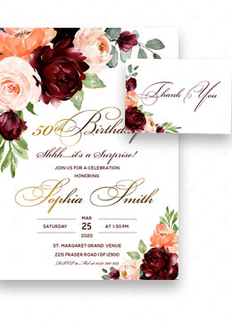 Burgundy And Gold 50th Surprise Birthday Invitations