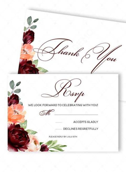 Burgundy Wedding Invitation Template