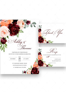 Burgundy Wedding Invitation Template