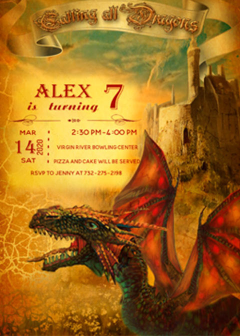 Dragon Birthday Invitation Template