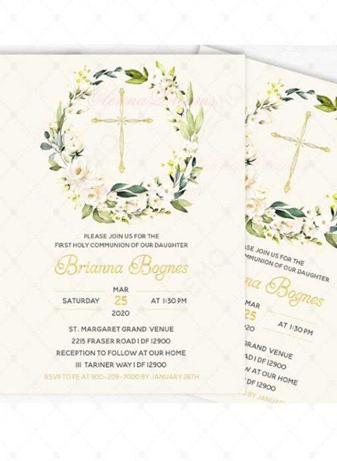 First Holy Communion Invitation Card Design