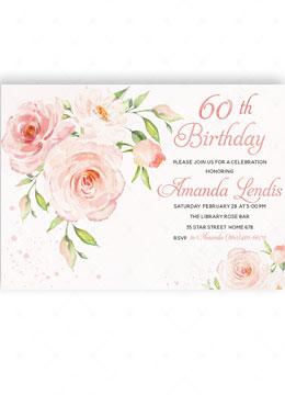 60th Floral Birthday Invitation
