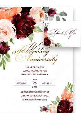 Gold Burgundy 50th wedding anniversary invitation cards