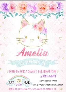 Kitty Birthday Invitations