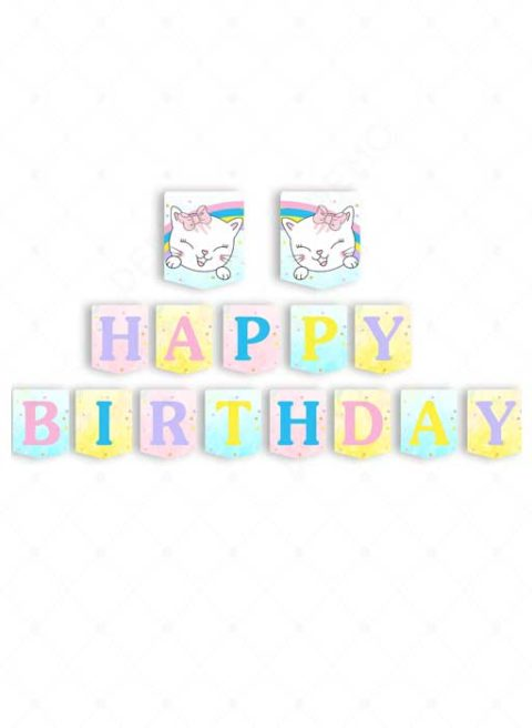 Kitty Cat Birthday Banner