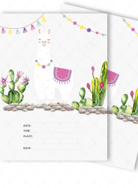 LLama Fiesta Blank Invitation Card