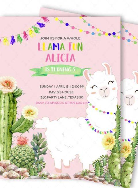 Llama Birthday Invitation Template