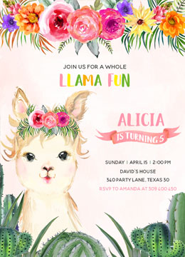 Llama Birthday Party Invitations