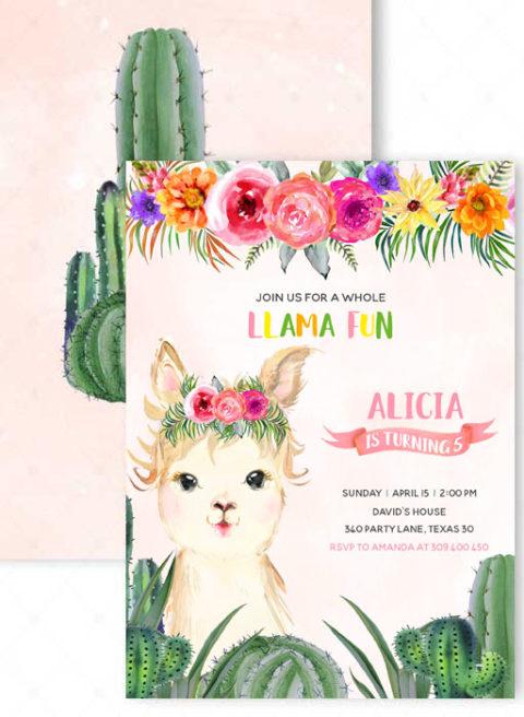 Llama Birthday Party Invitations