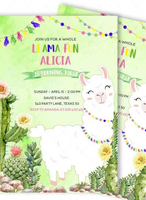 Llama First Birthday Invitations Printable