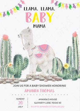 Llama Llama Baby Mama invitation