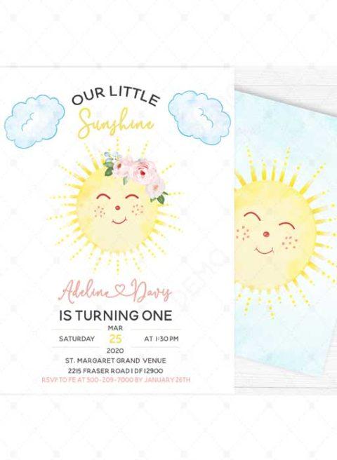 Our Little Sunshine Birthday Invitation