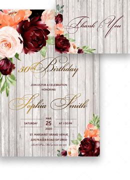 Rustic Printable 50th Birthday Invitations