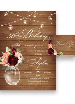 Rustic Surprise 50th Birthday Party Invitation