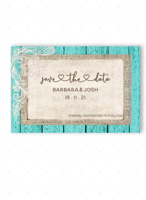 Rustic Turquoise Wedding Invitations