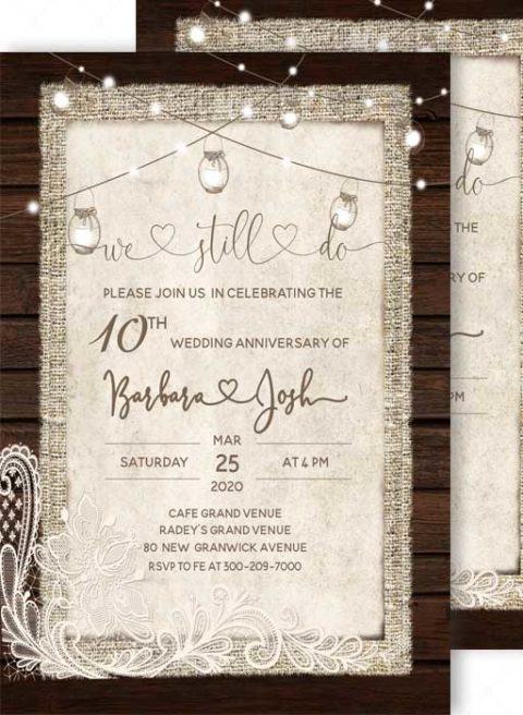 Rustuc 10th Wedding Anniversary Invitation