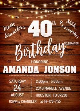 Surprise 40th Birthday Invites