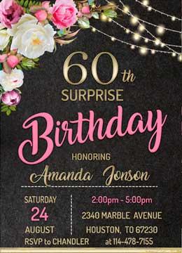 Surprise 60th Birthday Invites
