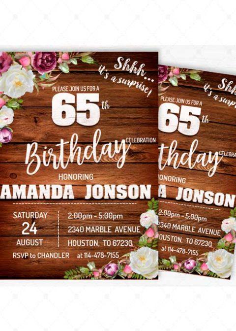 Surprise 65th Birthday Invites