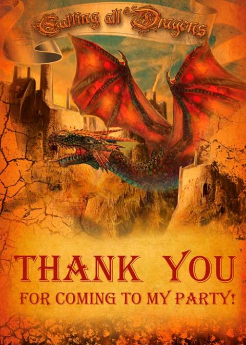 Dragon Party Thank You Card