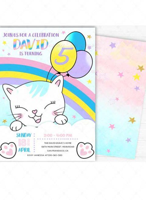Kitty Rainbow  Invitation