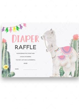 llama Mama diaper raffle baby shower