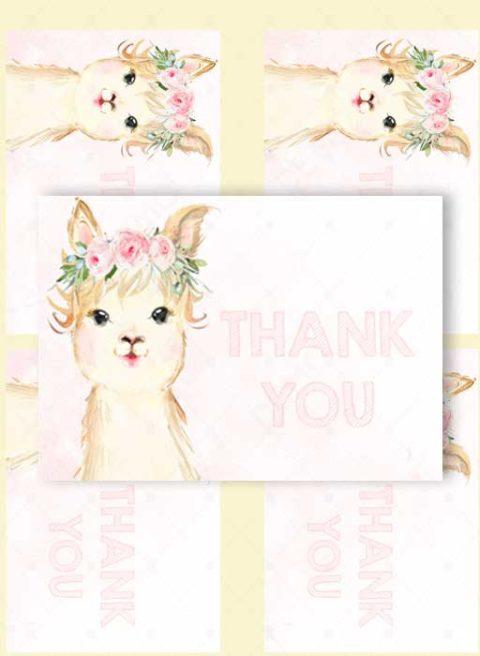llama Thank You cards – 3,5×5