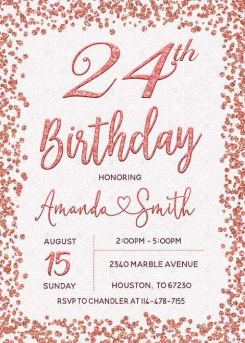 Personalized 24th Confetti Invitations