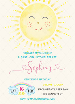 You Are My Sunshine Birthday Invitations