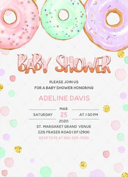 Donut Baby Shower Polka Dot Invitation