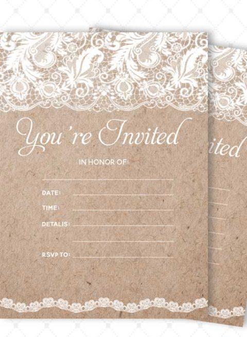 Lace Bridal Shower Invitations