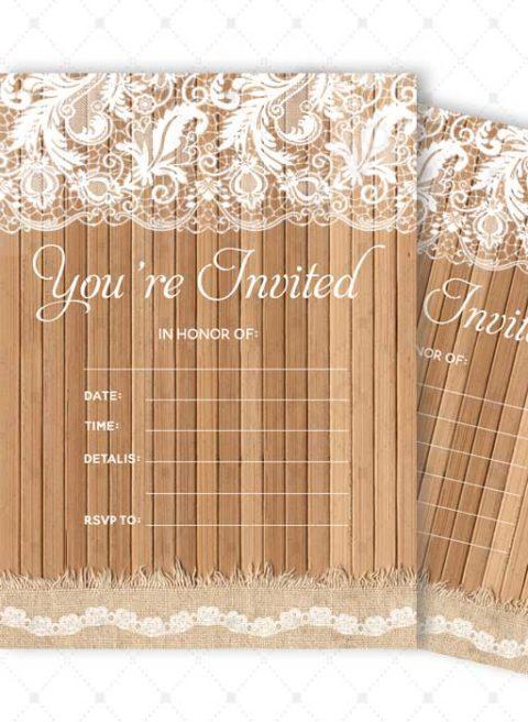 Lace Wood Bridal Shower Invitations