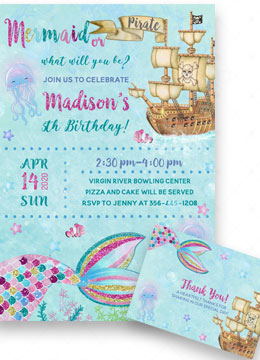 Mermaids and Pirates Party Invitations