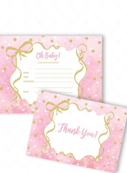 Polka Dots Gold Fill-in Baby Shower Invitations