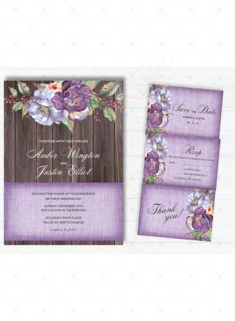 Purple Flower Invitation