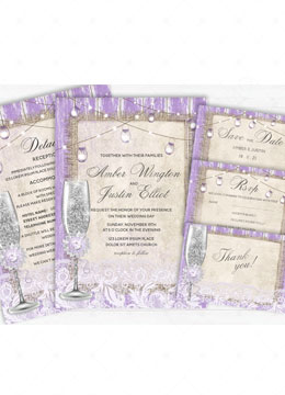 Purple and Burlap Wedding Invitations